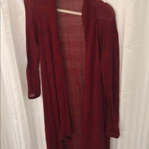 Long red and black cardigan